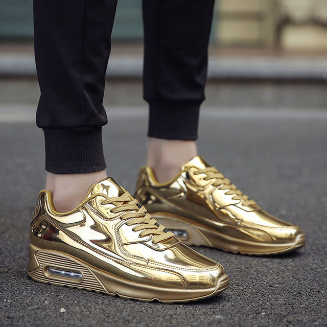 AD AcolorDay Trend 2017 Top Quality Men Casual Shoes Gold Air Cushion Spring Autumn Shoes Designer Breathable Men Shoes Brannd