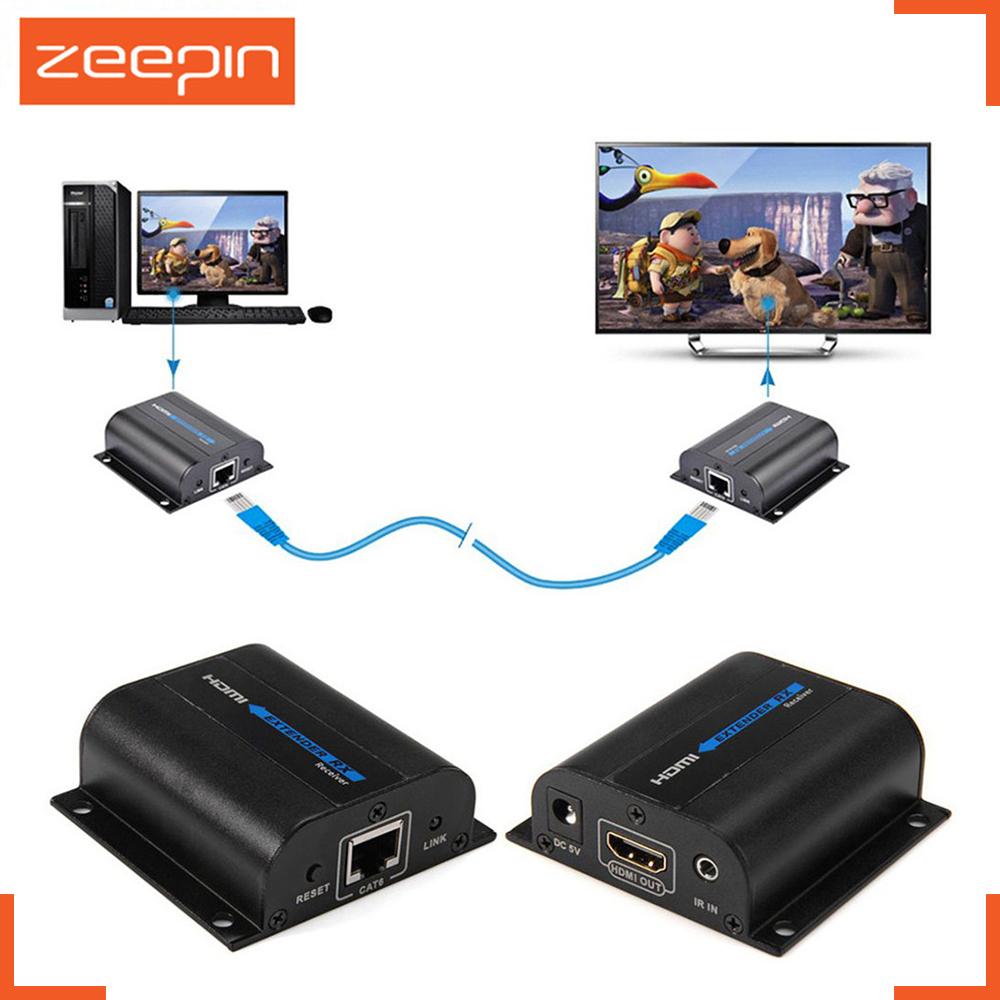 Prix pour 60 m lkv372a 1080 p hdmi extender émetteur cat6 réseau signal câble ir contrôle rj45 câble splitter outil 3d pour tv projecteur