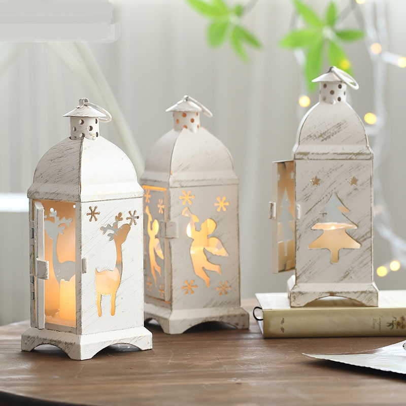 European romantic Night Lights lantern iron decoration Christmas tree candle elk angel lover gift lamps ZA111547 iron angel
