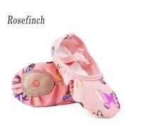 Розовый холст мягкая подошва балетки с принтом бабочки Обувь для танцев тапочки для йоги для девочек Для женщин точка обувь B24