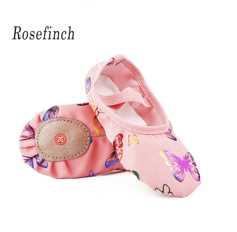 Pink Canvas Soft Bottom Ballet Shoes Butterfly Print Dance Shoes Yoga Sneakers Children Girls Women Point Shoes B24