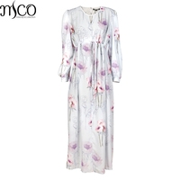 MCO Vintage Bold Floral Print Plus Size Boho Maxi Chiffon Dress Sheer Mesh Oversized Tea Dresses