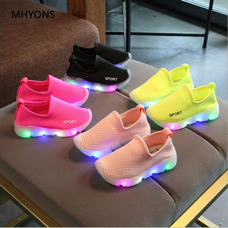 MHYONS New Candy Color LED Childrens Shoes Girls Boys Sneakers Running Non-slip Fashion Casual Shoes Outdoor Beach Shoes