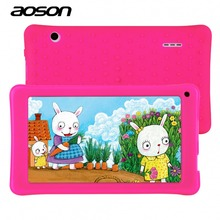 Nueva 7 Pulgadas Kids Niños Tablet PC AOSON A33 Quad Core Android 4.4 de la Tableta del Wifi 8G ROM 1024*600 HD de Doble Cámara Con Funda de Silicona