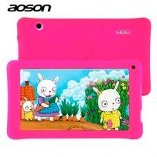 Новый 7 дюймов дети Дети Tablet PC AOSON A33 Quad Core Android 4.4 WIFI Tablet 8 г Встроенная память 1024*600 HD двойной Камера с силиконовый чехол