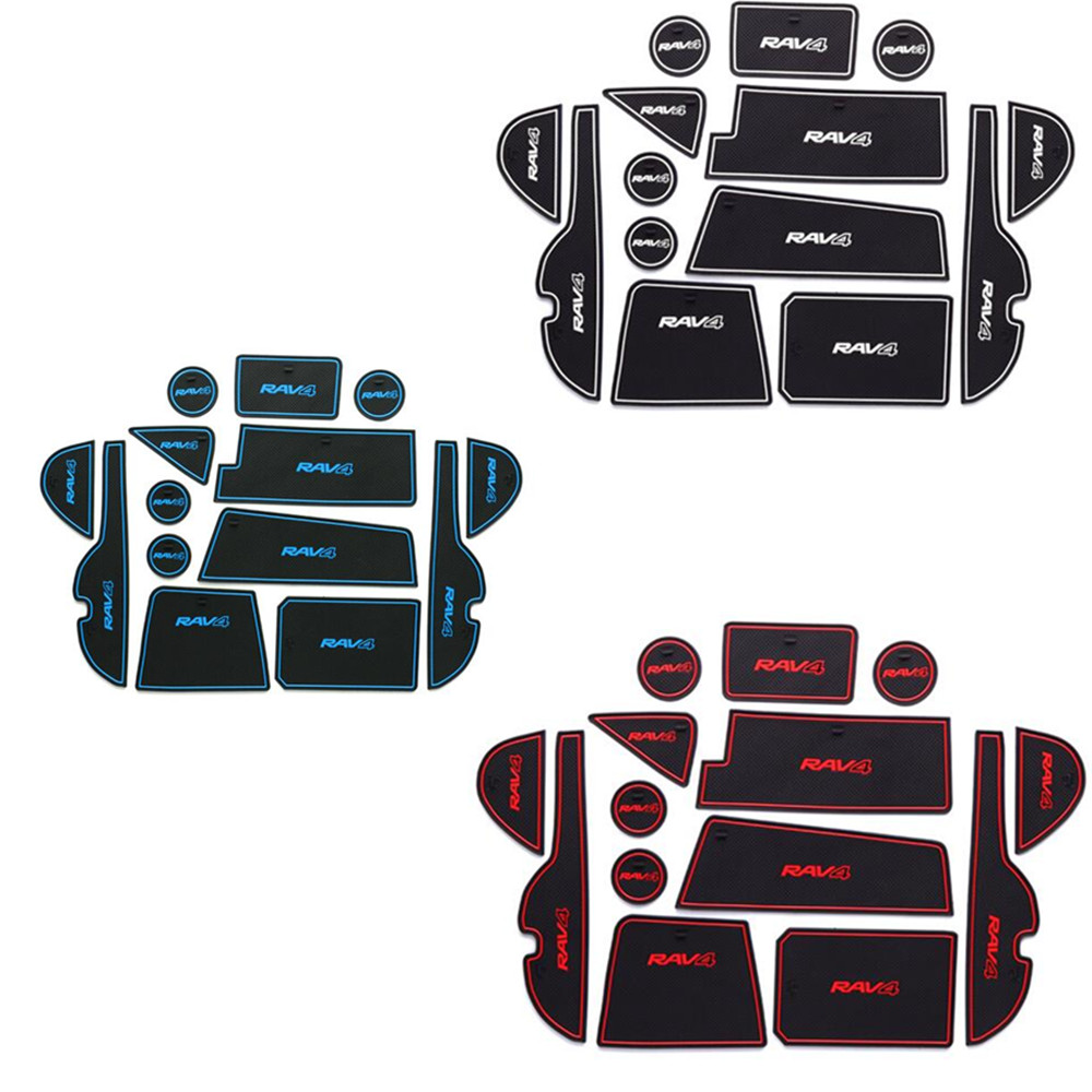 Prix pour Car styling inner Groove Porte Fente Accoudoir De Stockage En Caoutchouc non-slip tapis intérieur porte pad/tasse 14 pcs pour Toyota Nouveau RAV4 2016 2017