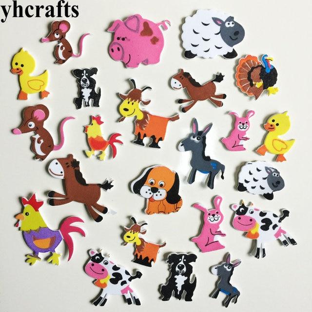 36pcs Lot Livestock Farm Animal Foam Stickers Kindergarten Crafts
