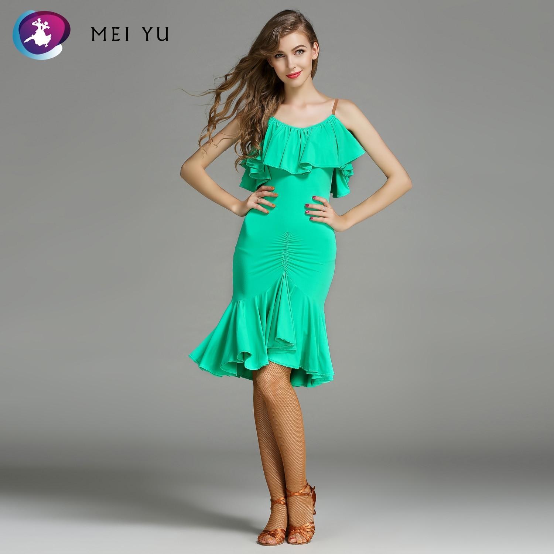 MEI YU MY757 robe de danse latine femmes dame adulte Rumba Cha robe de danse à volants Costume de salle de bal robe de soirée