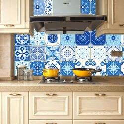 3D Средиземноморский стиль морской синий белый абстрактный узор стикер на стену ванная комната линия талии домашний декор