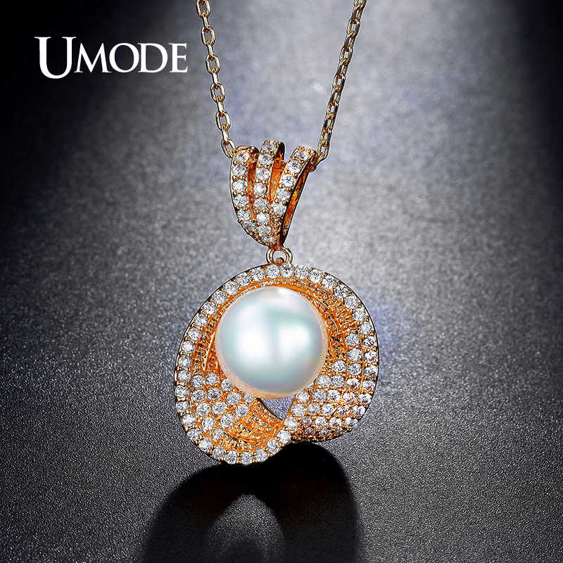 UMODE Brand Simulated Pearl Bridal Jewelry Sets for Women Gold Color Crystal Necklace and Earrings Wedding Jewelry Sets US0040A