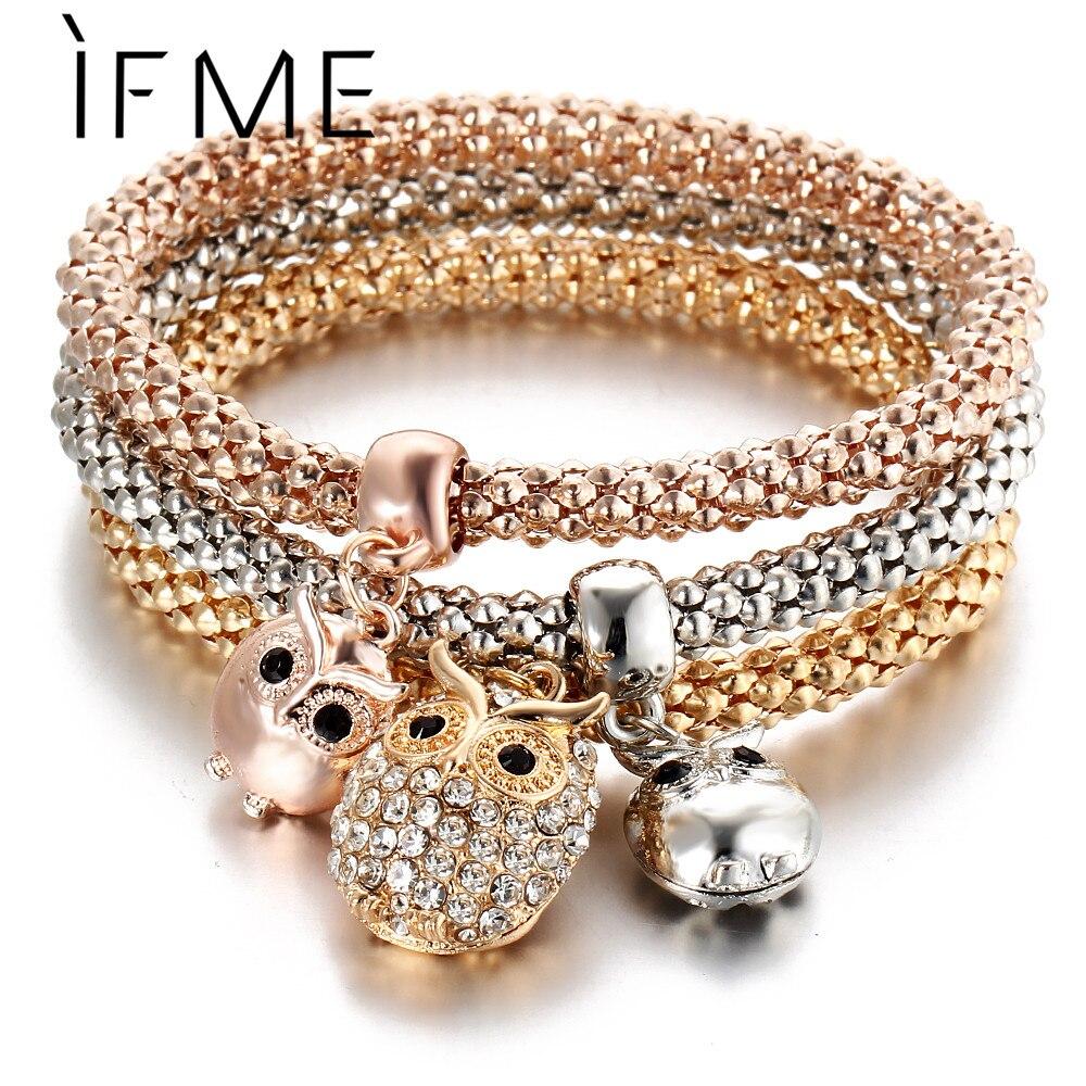 IF ME 3 Pcs/Set Crystal Owl Crown Metal Charm Bracelets&Bangles Rose Gold Color Elephant Heart Pendant Rhinestone Bracelet Women