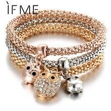 3 Pcs/Set Crystal Owl Crown Charm Bracelets&Bangles 3 Color Rose Gold Color Elephant Anchor Pendants Rhinestone Bracelet Women