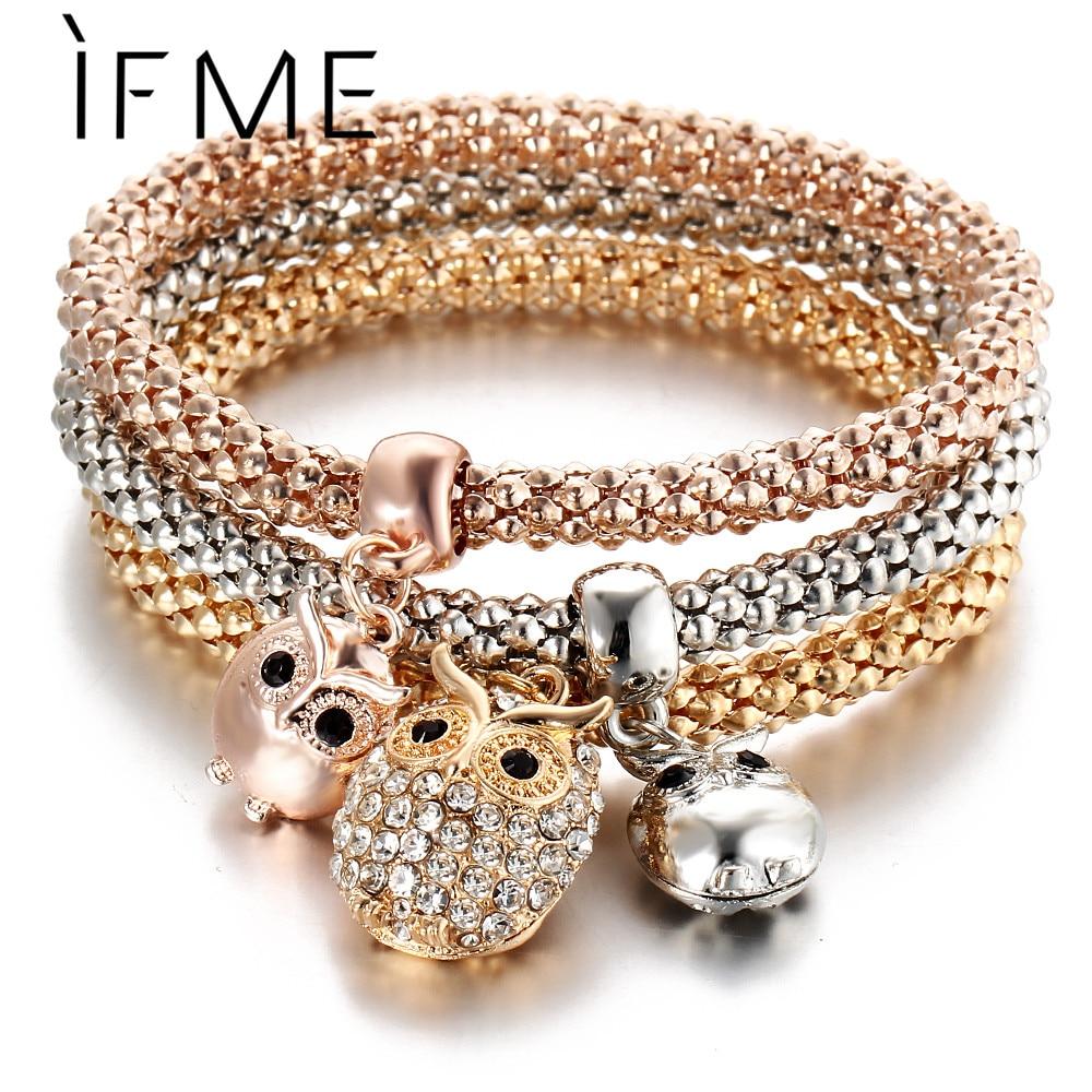 3 Pcs/Set Crystal Owl Crown Charm Bracelets