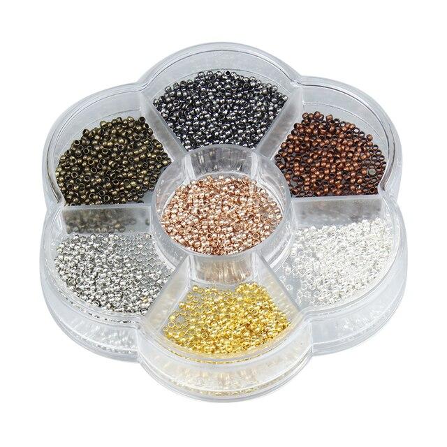2800 pz/scatola 7 Colori Misti 2mm Rotonda di Rame End Beads Per La Collana Del