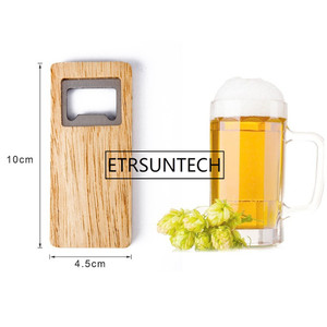 Image 2 - 10pcs Wood Beer Bottle Opener Wooden Handle Corkscrew Stainless Steel Square Openers Bar Kitchen Accessories Party Gift
