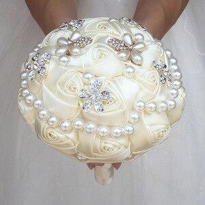 Image 2 - WifeLai un ramo de cuentas de perlas de diamante de marfil, ramos de novia de flores de crema Ramos de Dama DE HONOR DE BODA (se acepta personalizado) W0724