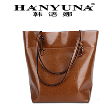 Oil Wax Vertical Type Cow Leather Genuine Leather Shoulder Bag Handle Bag with Big Capacity Causual