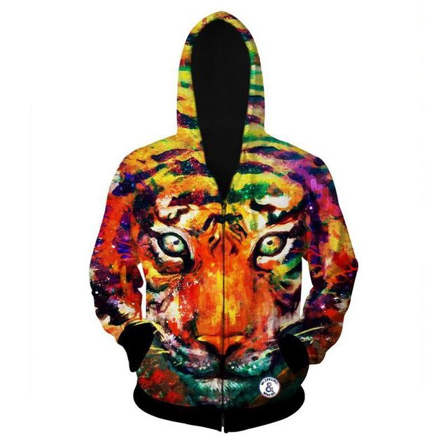 Fashion tiger hooded shirts men printed 3d hoodies Casual graphic hoodie funny Sweat shirt tie-dye Sweatshirt tops