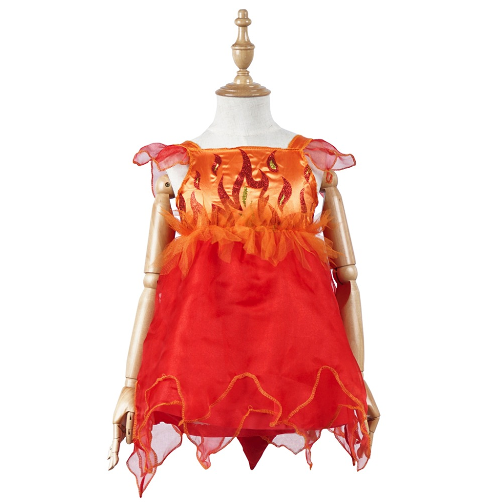 Red & Orange Fire Print Halloween Cosplay Costumes Clothing with Headwear & Devil Tail for Kids Girls Children Toddler Party
