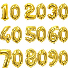 2pcs/lot 32/40inch Gold Number 0-9 Foil Balloons Birthday Party Decoration Adult Wedding Anniversary Decor Helium Air