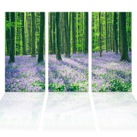 3 Panels HD Printed Forest Secenery Green Tree Purple Flower Nature Scenery Wall Picture Large Painting for Living Room/SJMT1937