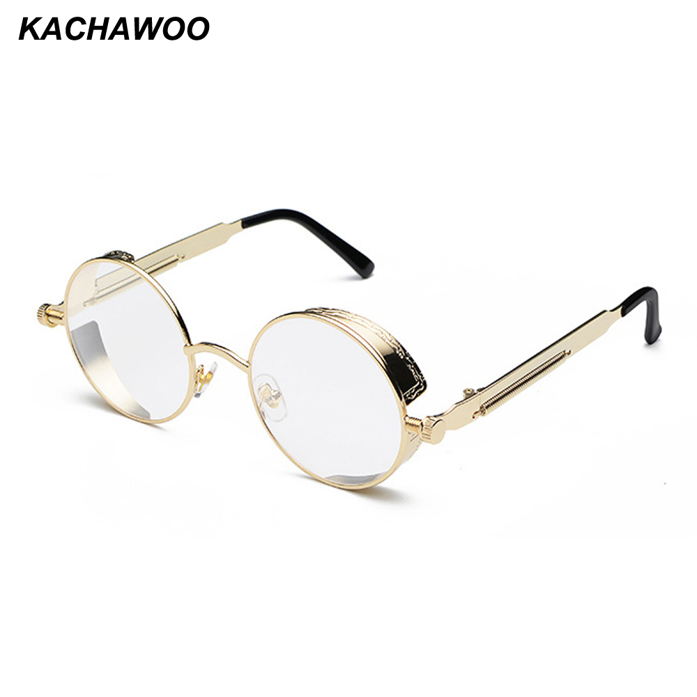 0fb2f46c79e Kachawoo round steampunk glasses frame men metal frame retro vintage  eyewear frames women accessories 2018