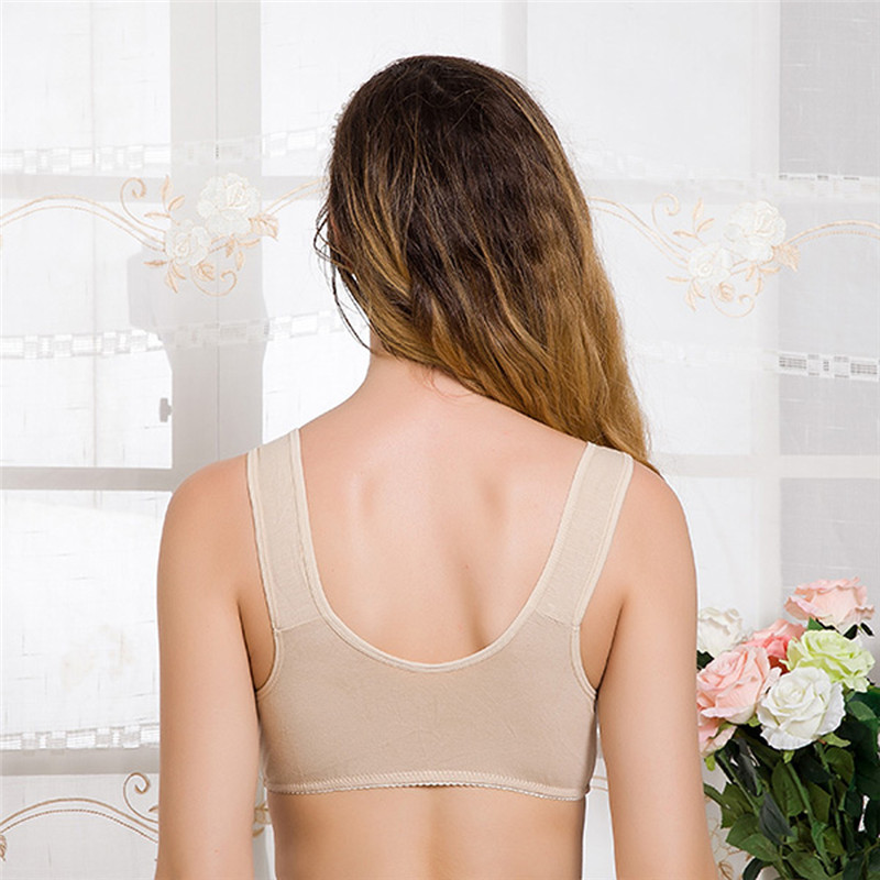 Cotton Wire Free Maternity Bra Tops Breastfeeding Front 3 Buttons Comfy Pregnant Feeding Nursing Bras for Female