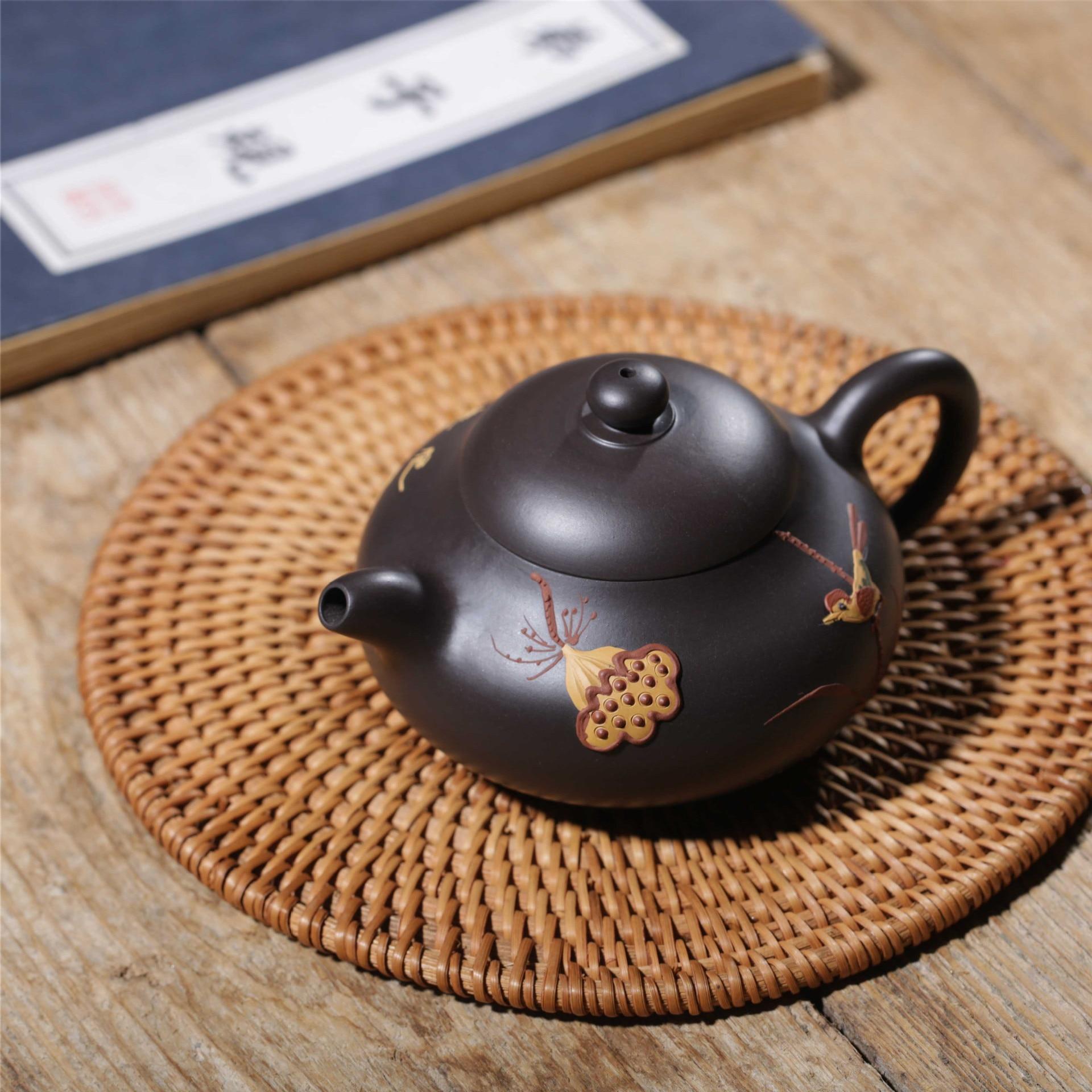 Известная ручная НЕОБРАБОТАННАЯ руда черного грязевого цветной рисунок или узор Xi Shi чайник завод прямой Wechat бизнес бесплатно агент - 4