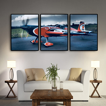 3 Panels Aircraft On Canvas Airplane Painting Wall Art