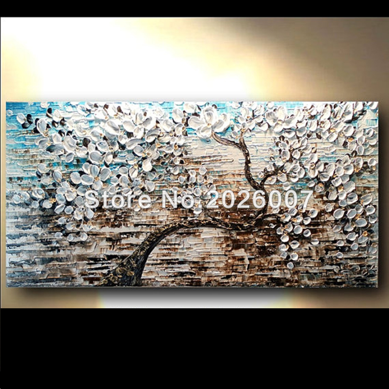 Hand Painted Abstract Thick Palette Knife White Gold Brown Blue Flower Tree Oil Painting On Canvas Painting Abstract Bedroom