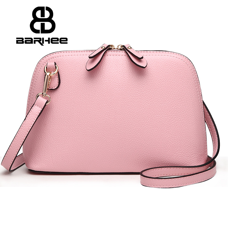 BARHEE Small Shell Crossbody Bags for Girls Women Messenger Bag Fashion Women Leather Handbag High Quality Design with LOGO Pink women shoulder bags leather handbags shell crossbody bag brand design small single messenger bolsa tote sweet fashion style
