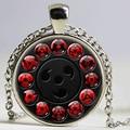 Japan NARUTO Jewelry Uchiha Sasuke Sharingan Necklace Uzumaki Naruto Red Eye Photo Pendant Eye Ball Necklaces Handmade Jewelry