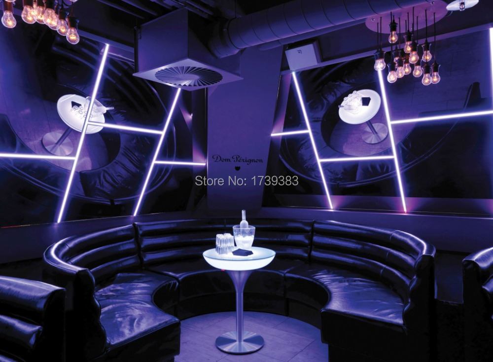 D80*h110 Led Illuminated Furniture High Bar Table Led Coffee Table Rechargeable For Bar/christmas/events lounge Led