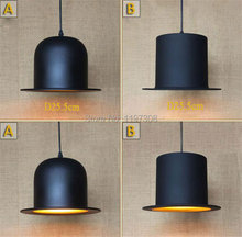 Estilo creativo de la industria Americana salón bar restaurante colgante de una sola cabeza luces colgantes luminarias lámparas sombrero