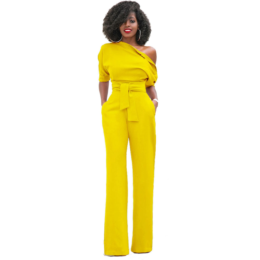 Fashion Autumn Women Sexy   Jumpsuit   Half Sleeves Off One Shoulder High Waist Ladies Casual Wide Leg Pants Romper TY53