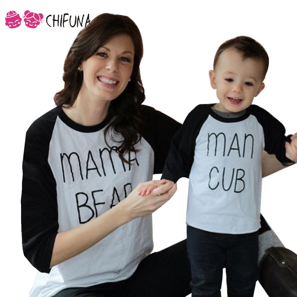 New Family Look Long Sleeve Letter Pattern Spring Autumu Mother Baby Matching Clothes Fashion Family T Shirt Outfits