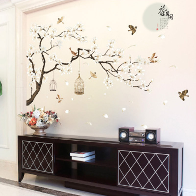 White Flowers Black Tree Trunk Wall Sticker Tv Background Wall Mural