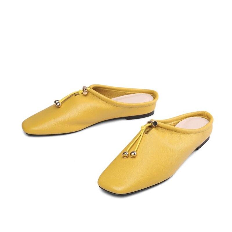 2018 Jaune Pantoufles Mules Bout Cuir Plat Chaussures Creux Vache Noir jaune Métal Femmes Décoration En Msstor Carré De blanc Mode 7q8OwSIWI