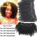 Hot peruano Afro rizado pelo virginal rizado Clip Ins para mujeres negras Afro rizado armadura del pelo humano Clip en extensiones de cabello Natural