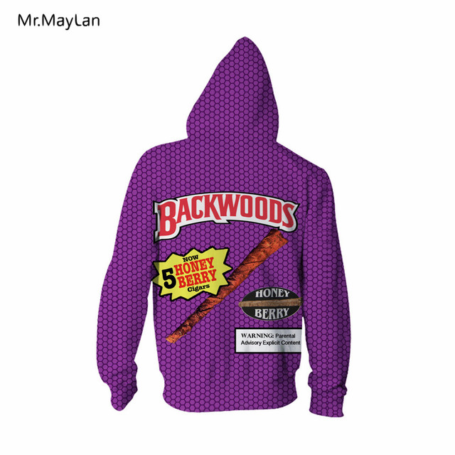 Letters Backwoods Honey Berry Cigars 3D Print Fashion Hoodies Unisex Casual Hooded Sweatshirts sudadera hombre Drop shipping 5XL