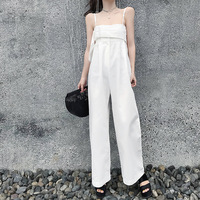OMIKRON New Fashion Women Elegant Rompers White Strap Jumpsuit Summer Short Overalls Wide Leg Jumpsuit Trousers Female Long Pant