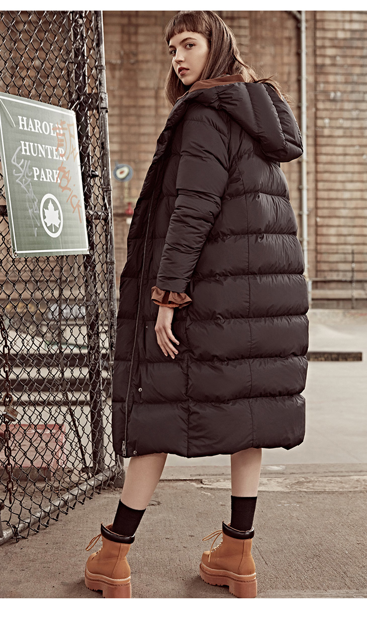 ONLY womens' winter new medium and long black down jacket Partial sill design Hooded collar|118312555 12
