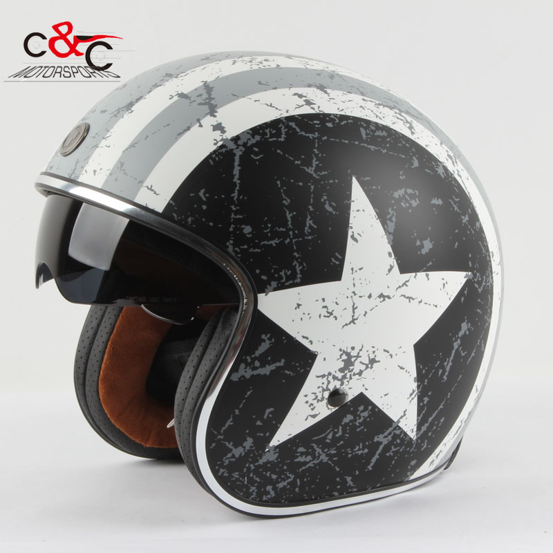 buy torc 3 4 open face vintage scotter jet motorcycle helmet motocross capacete. Black Bedroom Furniture Sets. Home Design Ideas