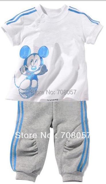 2016 Summer 5sets/lot fashion  baby children short sleeve t-shirts+Pants clothes set cartoon boys girls kids sport suit in stock