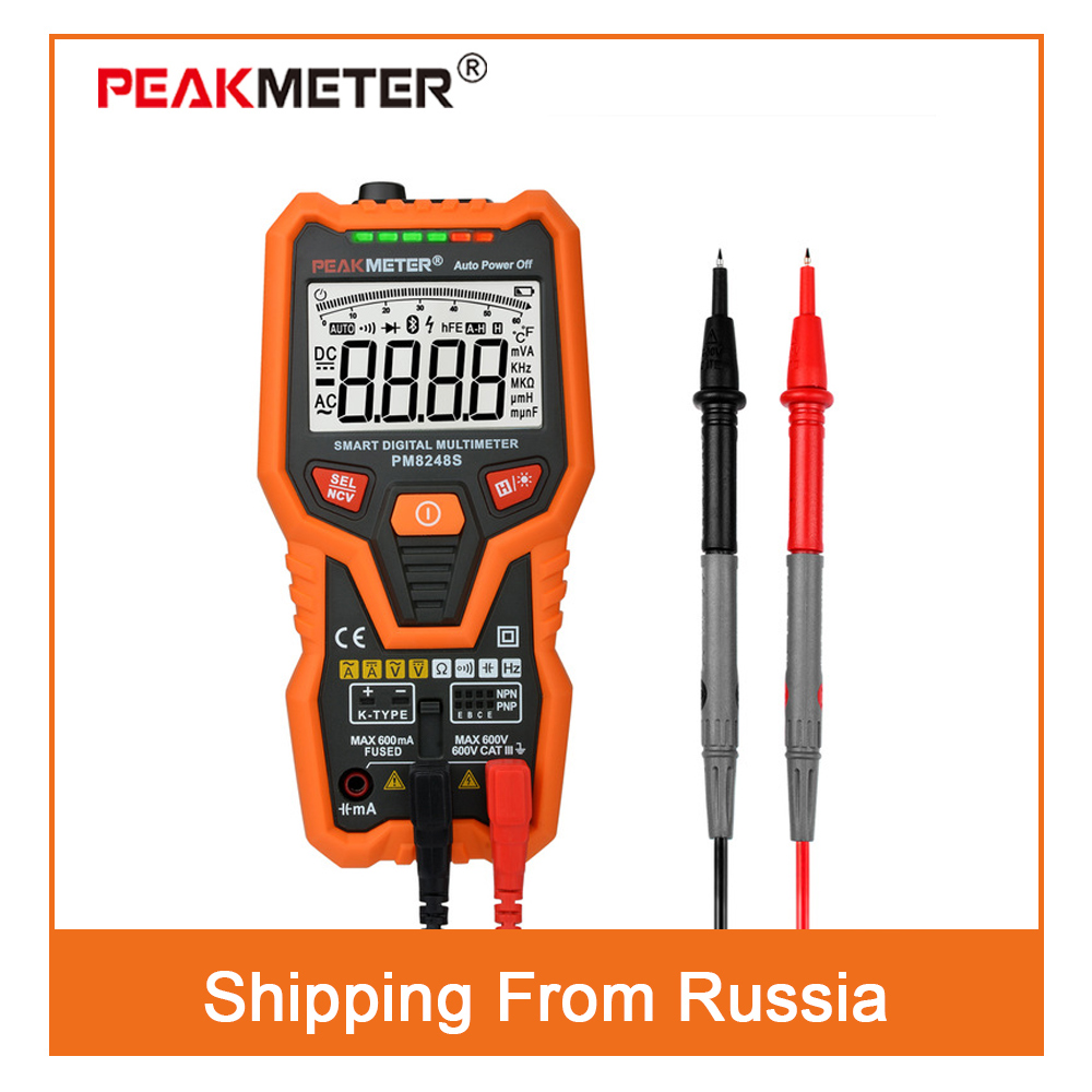 PM8248S Smart Fully AutoRange Professional Digital Multimeter Voltmeter with NCV Frequency Bargraph Temperature Transistor test цены онлайн