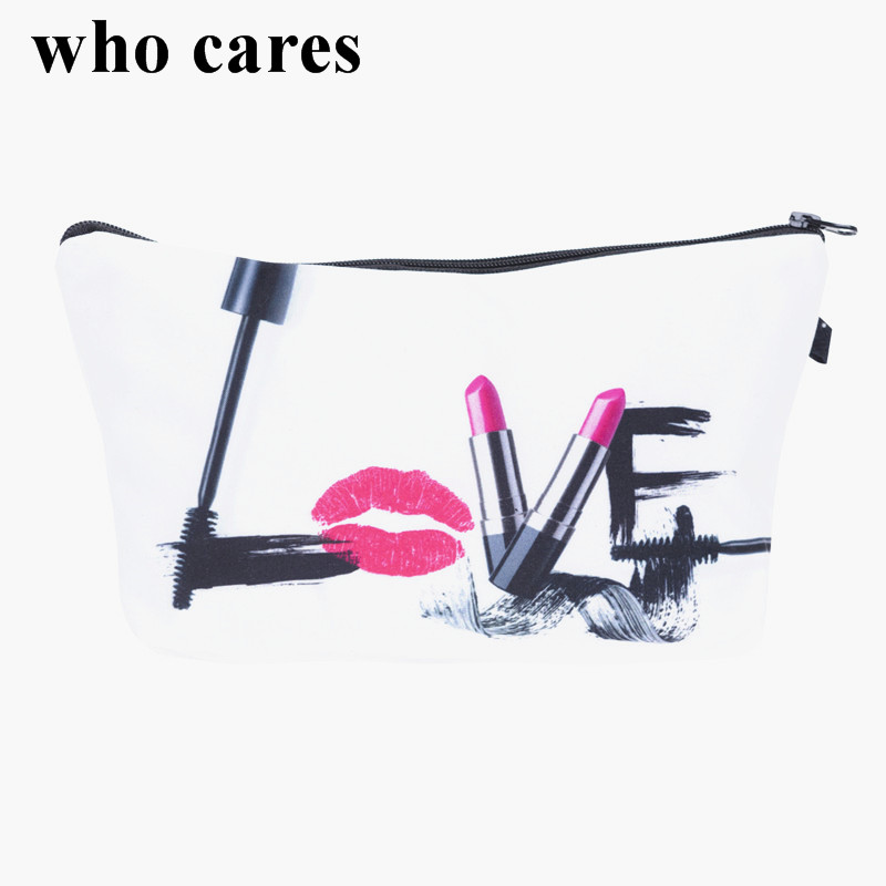 Love make up 3D Printing cosmetic bag 2018 who cares Fashion New makeup bag pencil bags for student women trousse de maquillage lips 3d printing pencil case cosmetic bag organizer 2017 fashion bags trousse de maquillage necessaire women pouch makeup bag