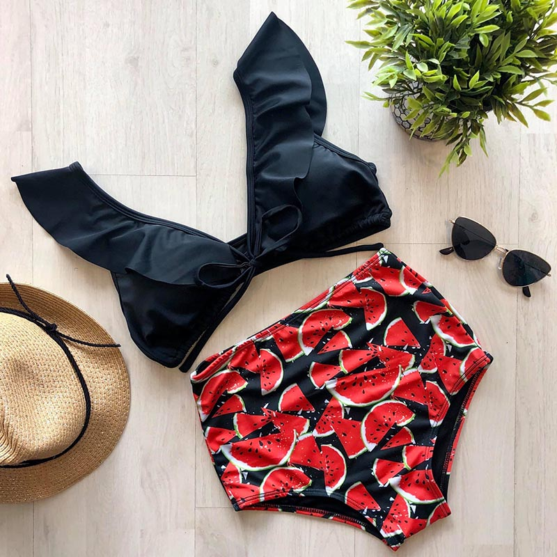 2019 Print Swimwear Women High Waist Bikini Ruffle Swimsuit Push Up Bikinis Set Bathing Suit Beach wear Summer Biquini Female