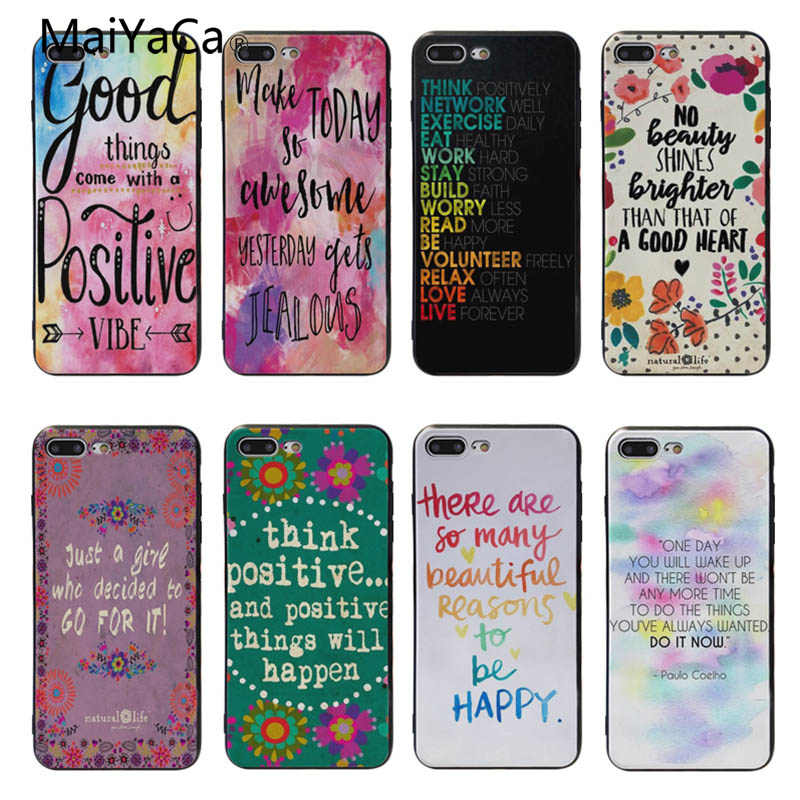 b03ec873cd MaiYaCa Positive Sayings Positive Words Think Happy be Happy Designs cover  case For iphone 6s 7