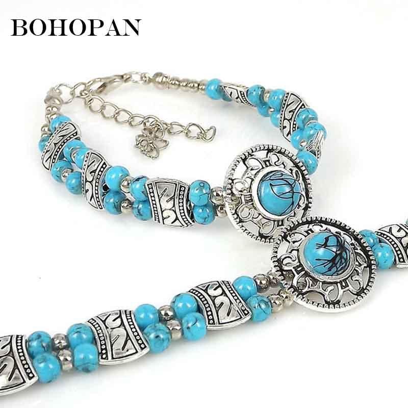 Vintage Charm Beads Bracelets Women Bohemia Beaded Stone