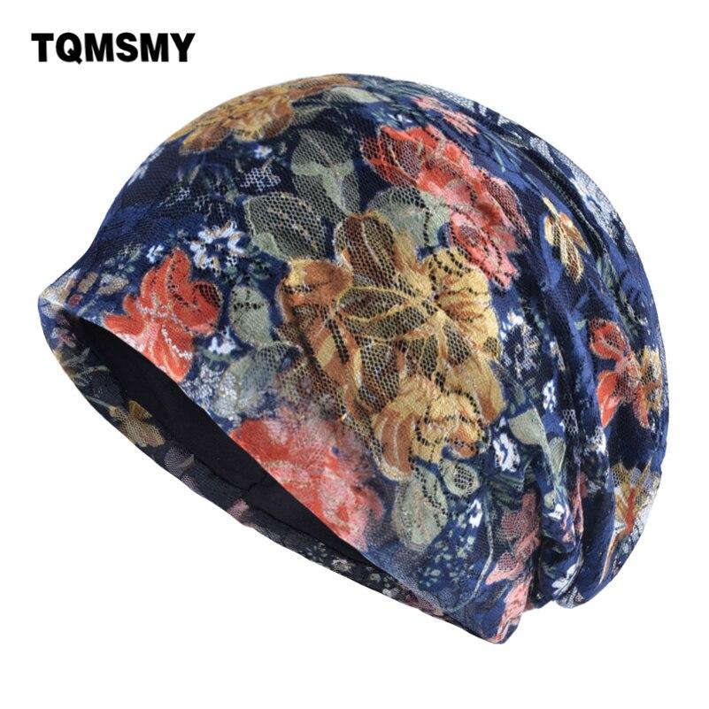 TQMSMY Casual Women Lace Flower Mesh   Beanie   Hat Ladies Knitted Spring Summer Cap Women's   Skullies   Gorro woman   Beanies   TMC101